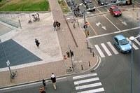 Città, incrocio, pedoni, strada