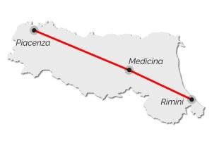 Via Emilia, Rimini, Piacenza, Medicina