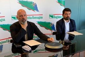 Il presidente Bonaccini e l'assessore Mammi conferenza stampa risorse agricoltura luglio 2020