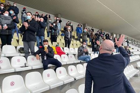GP Formula Uno Bonaccini saluta i sanitari