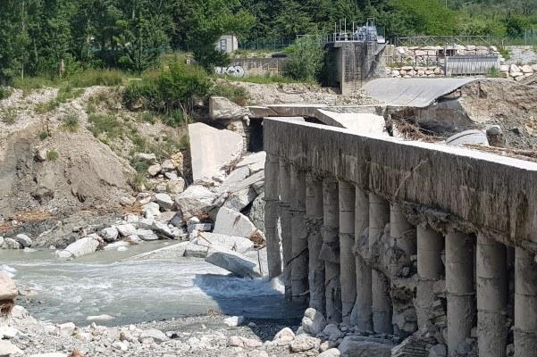 Traversa del Marecchia, briglia crollata, maltempo maggio 2019, Verucchio (Rn) - 1