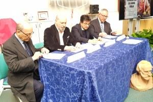 Firma protocollo Villanova sull'Arda per centro nazionale paralimpico 20 febbraio Bonaccini