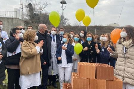 Posa prima pietra Centro oncologico Parma 19 02 2021 Bonaccini Donini