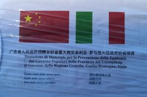 Messaggio cinese accompagna il carico di mascherine donate dalla Provincia del Guangdong Coronavirus (24 marzo 2020)
