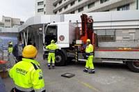 Coronavirus montaggio container per elisoccorso ospedale Maggiore Bologna ad opera di volontari Federgev 3
