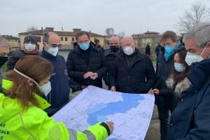 Boccia, Borrelli, Bonaccini, Priolo, Baruffi nel modenese dopo rotta Panaro (30 dicembre 2020)