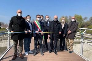 Taglio nastro inaugurazione Ponte della Navetta Parma (marzo 2021)