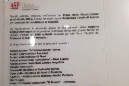 Polo anziani Roberto Rossi, Novi di Modena, targa