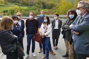 Crollo ponte Lenzino (Pc) sopralluogo  Corsini, Priolo e De Micheli (9 ottobre)
