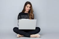 giovani, lavoro, ragazza, computer, smart working