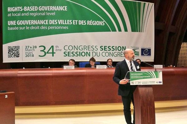 Il presidente Bonaccini al Congresso delle autorità locali e regionali del Consiglio d'Europa di Strasburgo