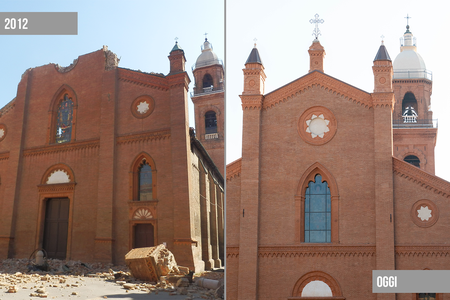 Riapre Duomo Mirandola (prima e dopo)