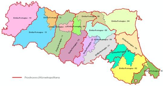 I 17 collegi uninominali per la Camera in Emilia-Romagna