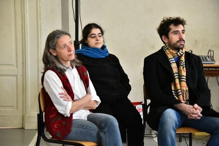 Paola Cordani con Ida Strizzi e Giacomo Armaroli del Teatro dell'Argine