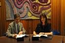 Il direttore generale dell'ECMWF, Florence Rabier e il colonnello Silvio Cau, capo del Servizio Metereologico italiano