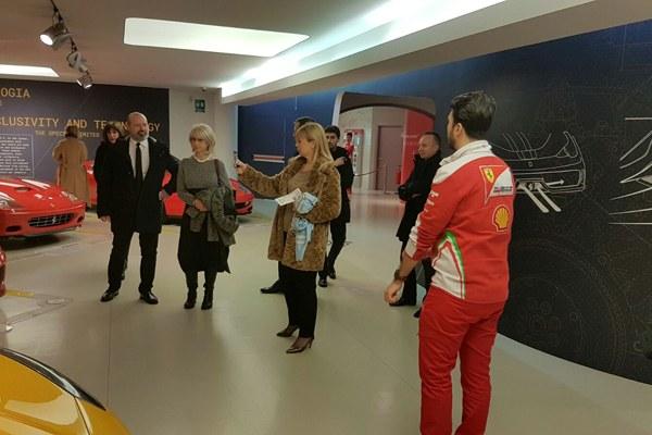Bonaccini, Bienkowska e Costi in visita al museo Ferrari