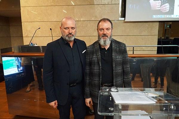 Carlo Lucarelli e Stefano Bonaccini