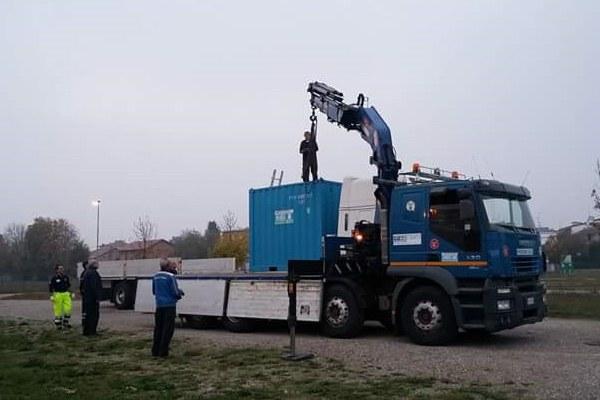 Container in partenza da Modena