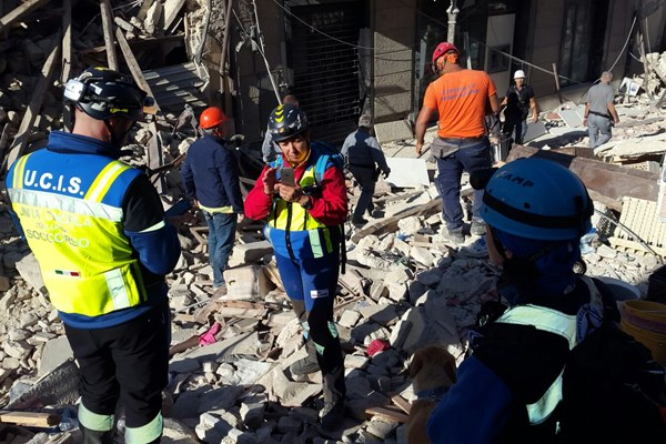Terremoto Italia centrale, le unità cinofile regionali