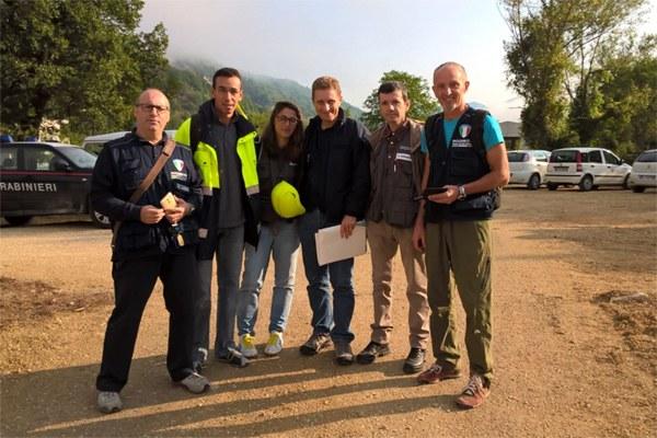 1 settembre 2016, squadre di rilevatori di agibilità dell'Emilia-Romagna al lavoro