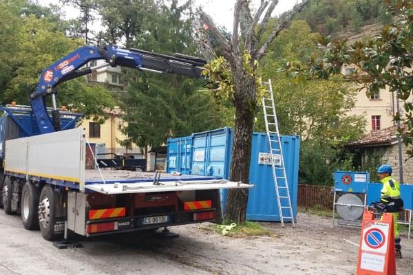 7 ottobre 2016, rientro dei container da Uscerno