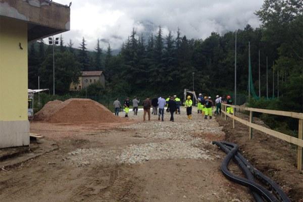 8 settembre 2016, sono iniziati i lavori per montare i moduli scuola e centroservizi