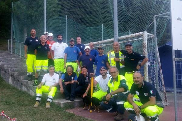 9 settembre 2016, funzionari e volontari della Protezione civile