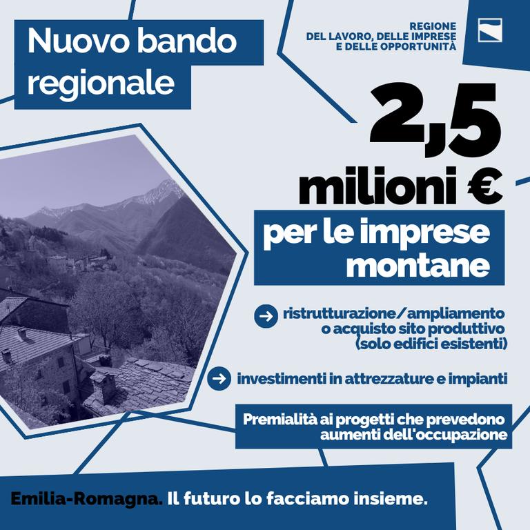 2,5 milioni di euro per le imprese montane