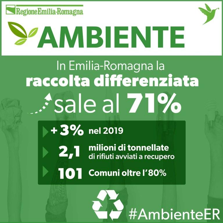 Ambiente, la raccolta differenziata sale al 71%