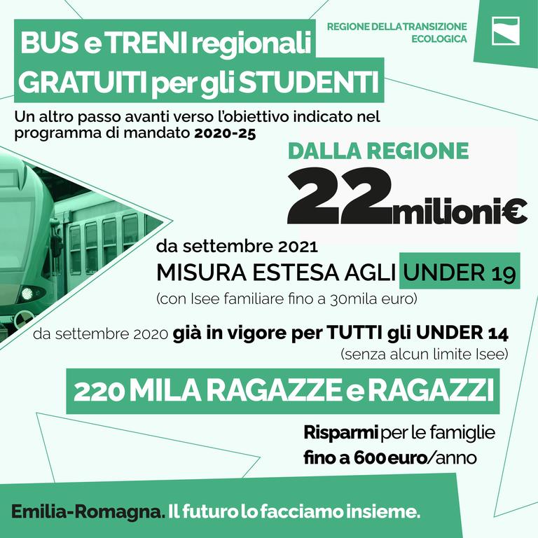 Bus e treni regionali gratuiti per gli studenti