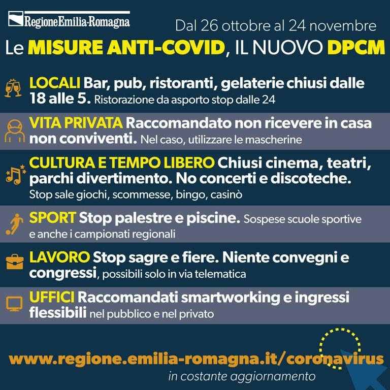 Nuovo DPCM dal 26 ottobre