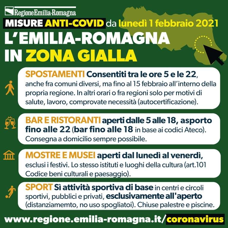 L'Emilia-Romagna dal 1 febbraio in zona gialla
