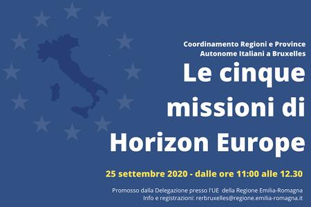 5 Missioni di Horizon Europe: riunione delle Regioni Italiane a Bruxelles