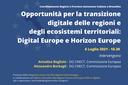 Digital Europe e Horizon Europe come opportunità per la transizione digitale delle regioni